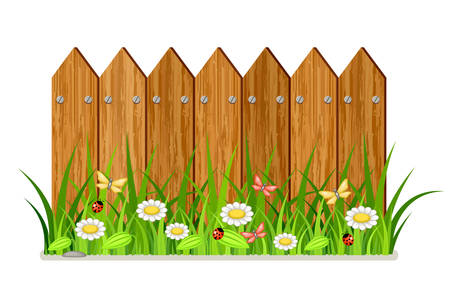Wooden fence with grass and flowers