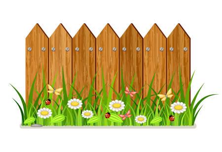 Houten hek met gras en bloemen