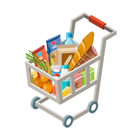 Vector illustration of the cart with products on a white background