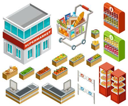 Vector isometrische illustratie van een supermarkt op een witte achtergrond