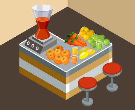 juice extractor: Vector illustration bar juice. Fresh juice. Fruit and vegetables
