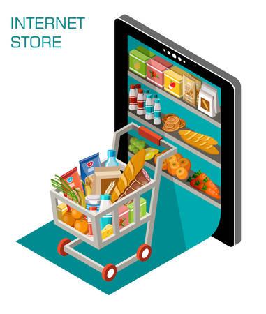 Ilustración vectorial de la tienda en línea. Concepto Foto de archivo - 52588983