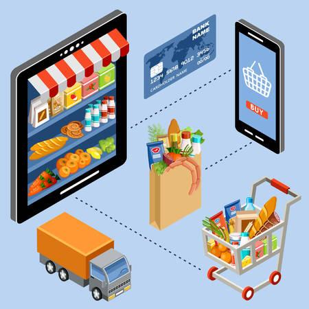 abarrotes: Ilustración del vector de la tienda en línea Vectores