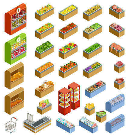 counters: Vector isometric counters with food. Supermarket. Illustration
