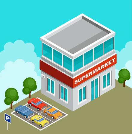 shopping malls: Vector illustration of a supermarket. Parking with cars Illustration