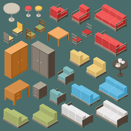 isometry: Vector set of isometric furniture on the dark background