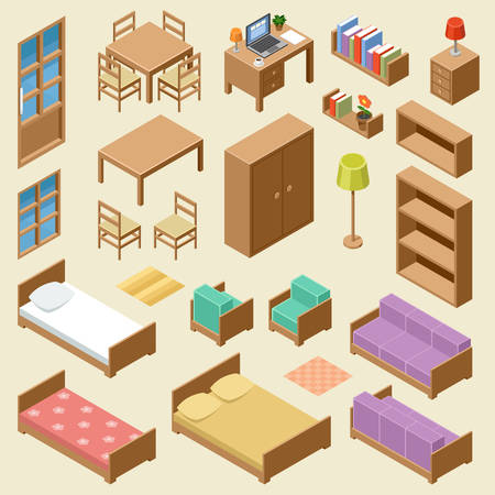 drawing room: Vector set of isometric furniture on the beige background