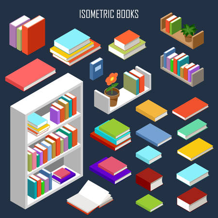 book shelves: The vector image of isometric books in the opened and closed look and furniture Illustration