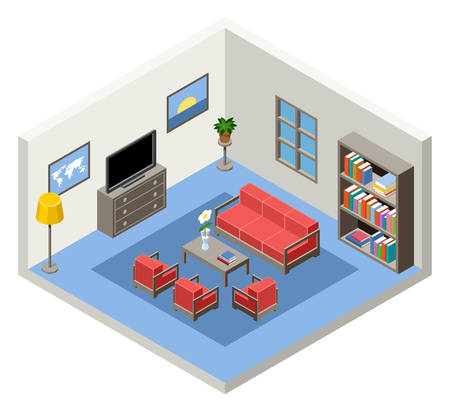 Vector interior of the isometric room with furniture