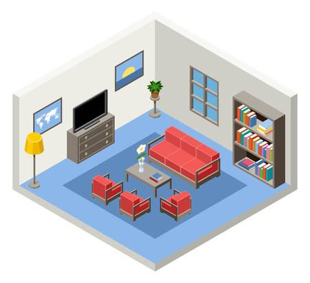 Vector inter van het isometrische kamer met meubels Stock Illustratie