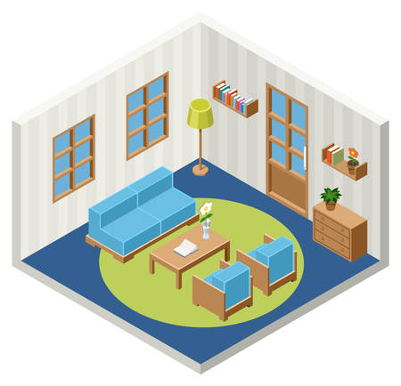 domestic room: Vector interior of the isometric room with furniture
