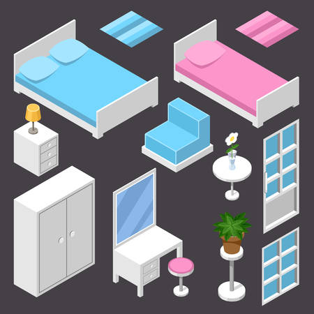 domestic room: Vector isometric furniture white color on the dark background Illustration