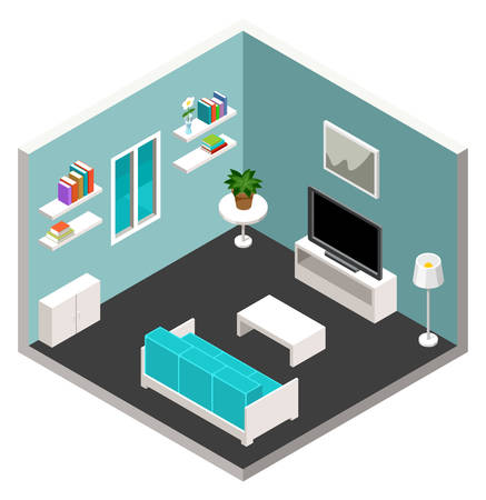 lounge room: Vector interior of the isometric room with furniture