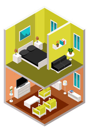 sections: Vector isometric house in a section with furniture