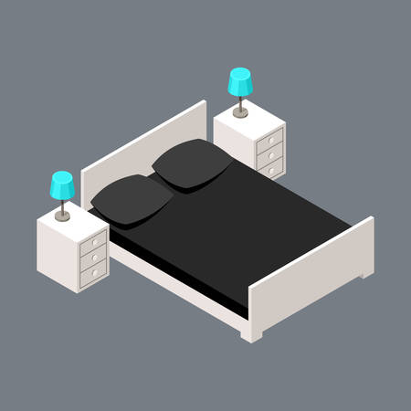 construction icon: Vector isometric bedroom with a bed and bedside tables