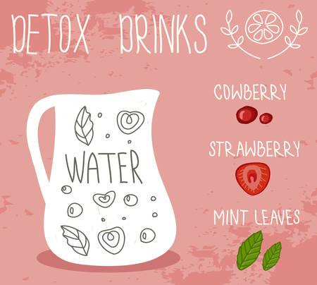 detox: Healthy life, detox drink. Vector