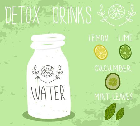 detoxing: Healthy life, detox drink. Vector