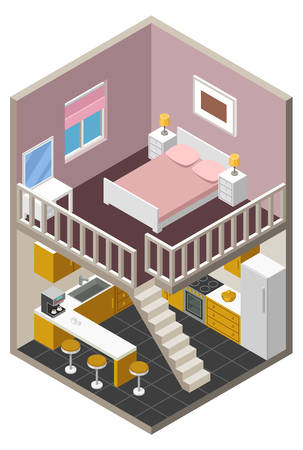 cutaway drawing: Vector isometric house with furniture Illustration