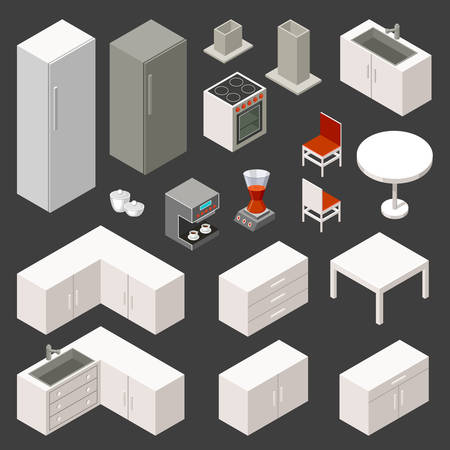 Vector isometric kitchen set on the dark background Иллюстрация