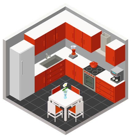 kitchen furniture: Vector isometric kitchen with furniture