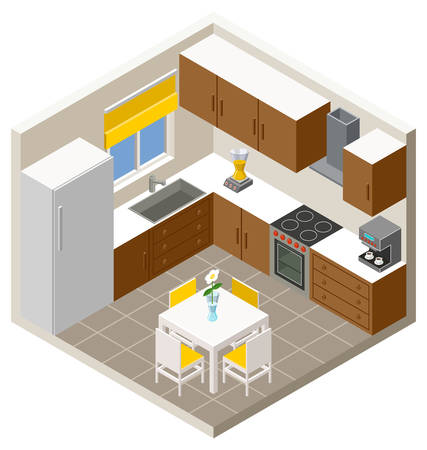 Vector isometric kitchen with furniture