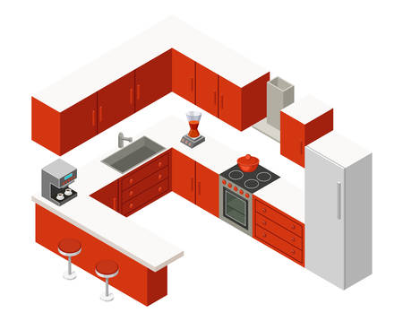 kitchen furniture: Vector isometric kitchen with red furniture