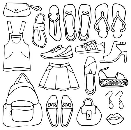 sunglasses cartoon: Clothes and shoes doodle
