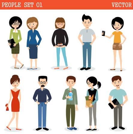 Insieme di persone moderne, uomini e donne. Stile di strada. Archivio Fotografico - 58037428
