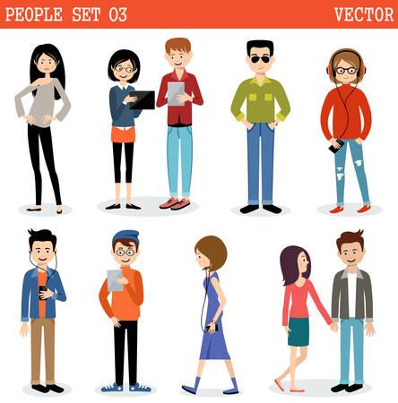 Conjunto de la gente moderna, los hombres y las mujeres. Estilo callejero. Ilustración de vector
