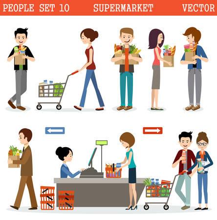 La gente en un supermercado con las compras.