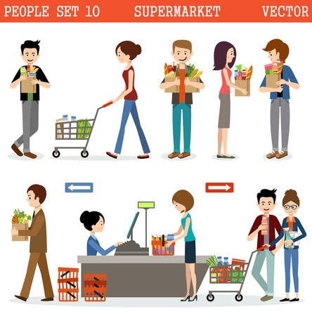Les gens dans un supermarché avec des achats.
