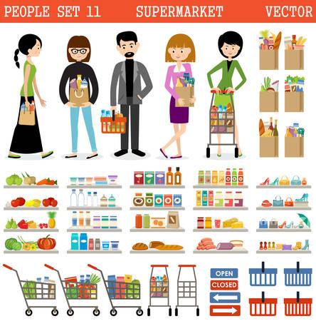 Mensen in een supermarkt met aankopen en producten