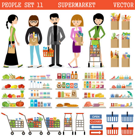 purchases: People in a supermarket with purchases and products