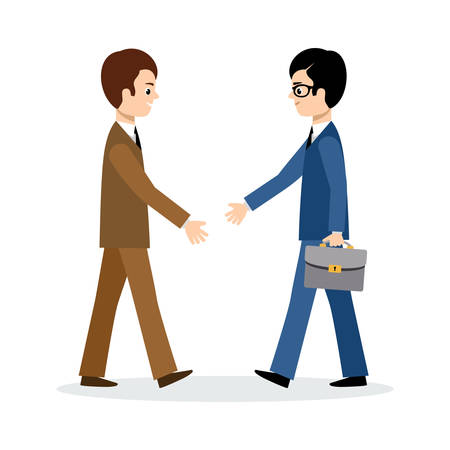 male hand: Two businessmen sign the contract on the white background. Illustration