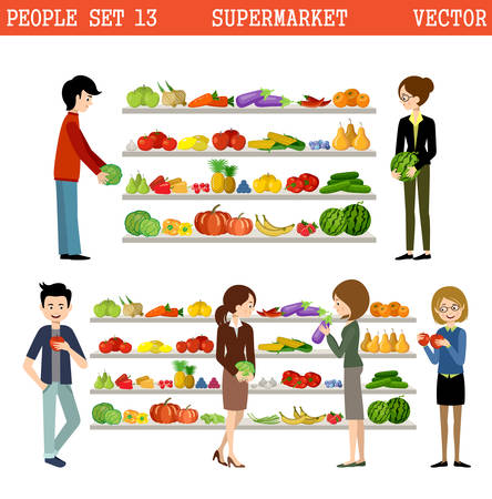 purchases: People in a supermarket with purchases. Products. Vegetables and fruit. Illustration