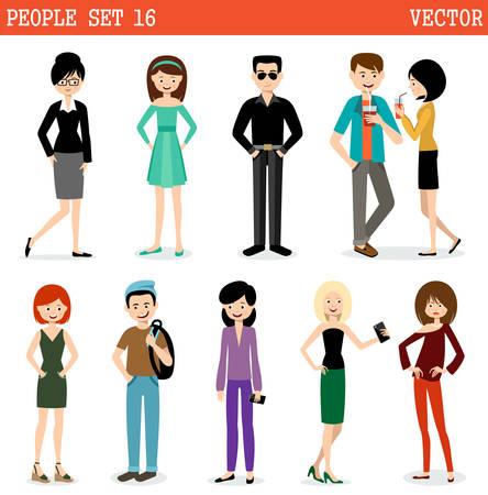 ? group: Conjunto de la gente moderna, los hombres y las mujeres. Estilo callejero. Vectores