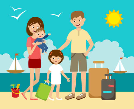 family holiday: The family has arrived to holiday on the beach and sea. Illustration