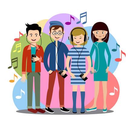 Moderne mensen luisteren naar muziek op gadgets.
