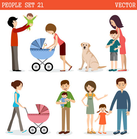 Vector set of people with children and dog on a white background.