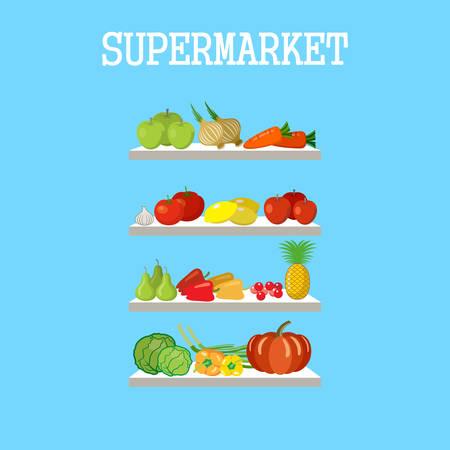 supermarket shelf: Shelfs  with products on a blue background. Vector Illustration