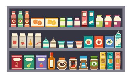 alimentos y bebidas: estantes vector grises con productos Vectores