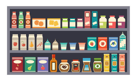 food and drinks: Grey vector shelves with products Illustration