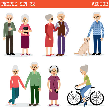 old people: Set of the old people leading active lifestyle. Vector