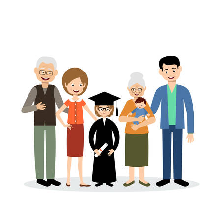 big family: Big family with the child graduate on a white background