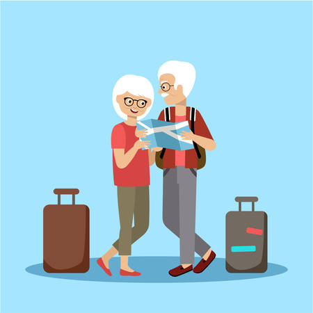 active seniors: Couple of elderly people travel and look at the map. Vector