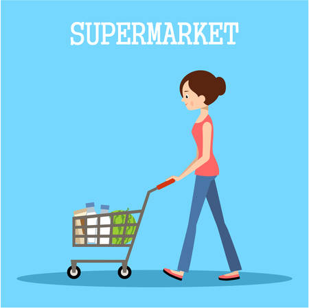mujer en el supermercado: La gente en un supermercado con las compras. Ilustración tienda al por menor. Vector Vectores