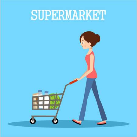 La gente en un supermercado con las compras. Ilustración tienda al por menor. Vector Foto de archivo - 61056048