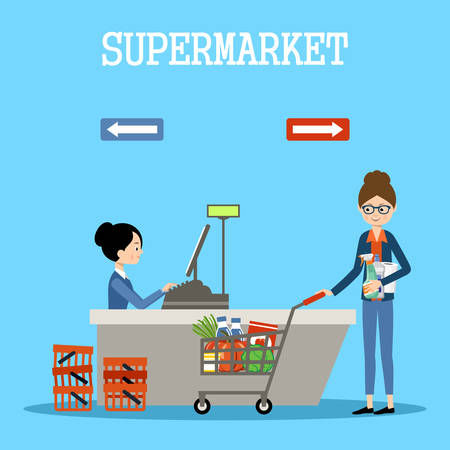 purchases: People in a supermarket with purchases. Retail store illustration. Vector Illustration