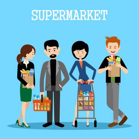 La gente en un supermercado con las compras. Ilustración tienda al por menor. Vector Vectores