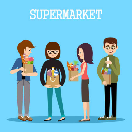 grocery shelves: People in a supermarket with purchases. Retail store illustration. Vector Illustration